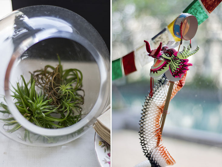 A terrarium adds a touch of green (left). Celebrate the good life — and great coffee — with this festive paper dragon! (right)