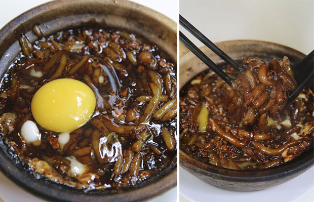Their claypot loh shee fun has been their bestseller since they introduced it (left). Mix the raw egg with the piping hot rice noodles and enjoy it with minced meat and salted fish (right)
