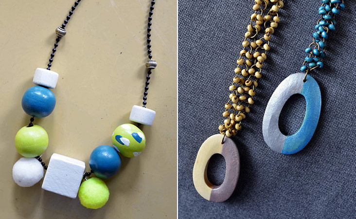 Different shapes for the hand painted wooden beads are available (left). These delicate seeds are strung together to make this pretty necklace (right).