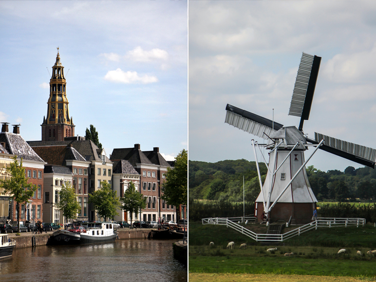 Groningen is a university city in northern Netherlands (left). A passing windmill en route to Groningen (right)