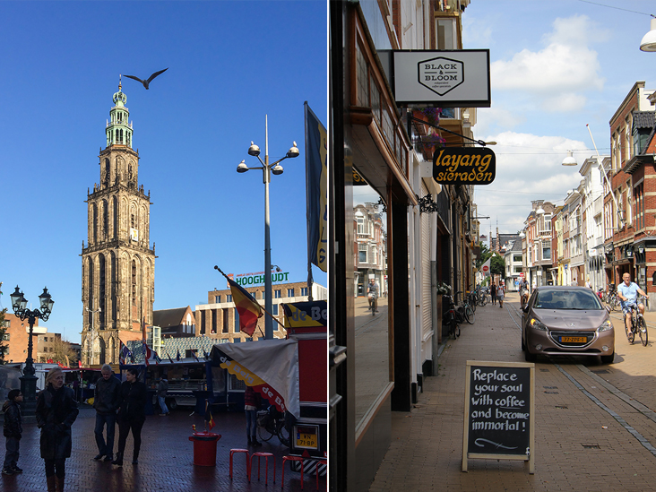 The iconic Martinitoren (St. Martin's Tower) (left). Students flock to Black & Bloom in the late afternoon for coffee (right)
