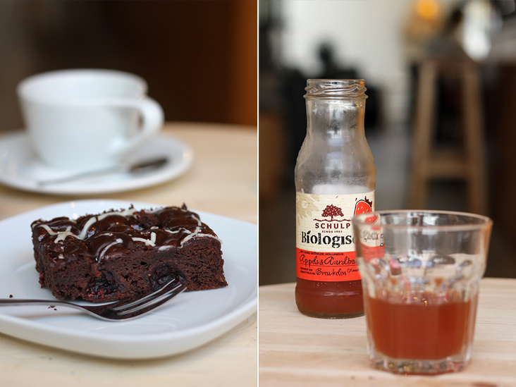Sinfully rich chocolate brownie, perfect with drip coffee (left). Drink local: organic apple and strawberry juice by Schulp (right)