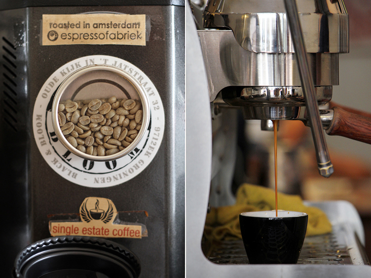 Locally roasted coffee beans by Amsterdam's EspressoFabriek (left). Pulling a ristretto shot (right)