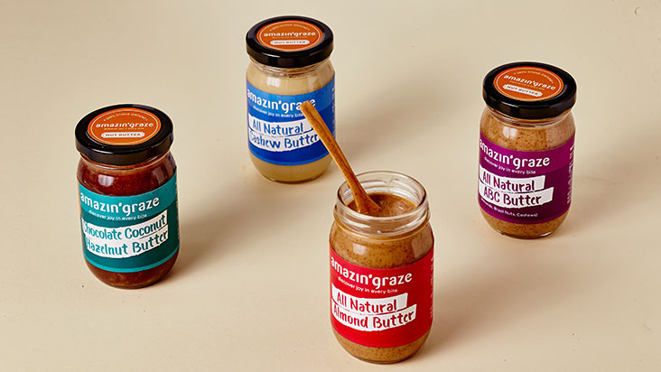 The selection of their nut butters are easy to spot with their bright coloured labels.
