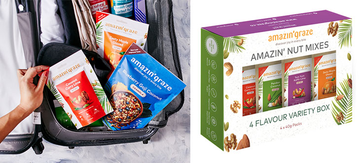 Pack up your Amazin' Graze healthy snacks to keep fit during your travels (left). You can purchase their healthy snacks in various sets, if you're buying in bulk (right).