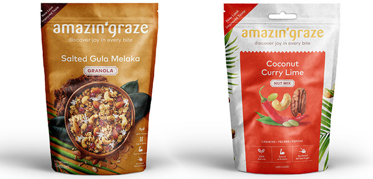 As part of their homage to the brand's Asian roots, you will find that the packet contains images of the ingredients (left). From day one, customers have loved their coconut, curry lime nut mix (right).