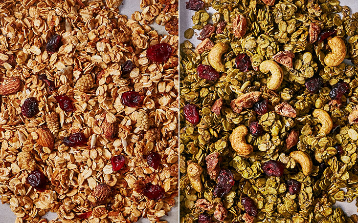 The salted gula Melaka granola has been a firm favourite of their customers since they introduced it, three years ago (left). Matcha flavours enhance the granola with cashewnuts, oats and cranberries (right).