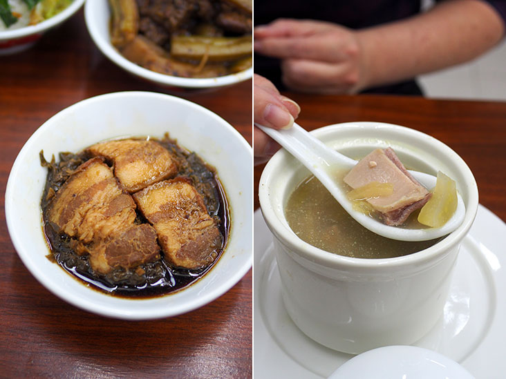 Preserved mustard cabbage is paired with tender pork belly slices for a satisfying meal (left). Their pig maw pepper soup with lettuce has a very mild peppery taste (right).