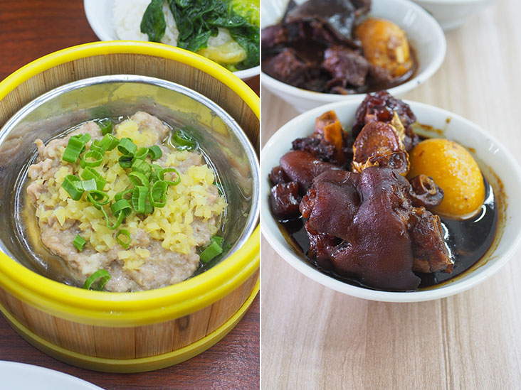 The fluffy meat patty topped with chopped ginger has just the right mixture of meats and fats (left). The must-eat is their tender ginger and vinegar pork trotters with its balanced flavours (right).