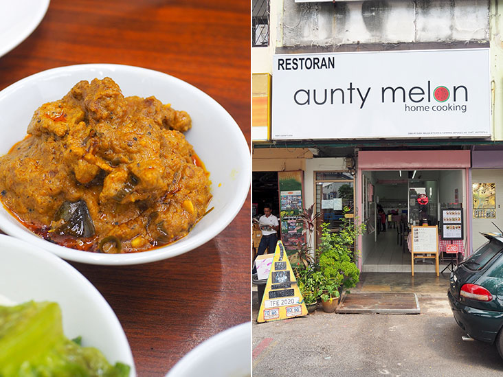 Relish the mildly spicy rendang pork with fluffy potatoes and pork slices (left). Look for this half shop next to a hair salon in PJ's SS2 area (right).