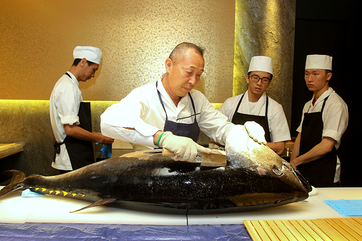 For Sushi Ryu's grand opening, chef Kiichi Okabe carved up a whole bluefin tuna fish. – Pictures by Ham Abu Bakar, Mohd Yusof Mat Isa & courtesy of Sushi RYU