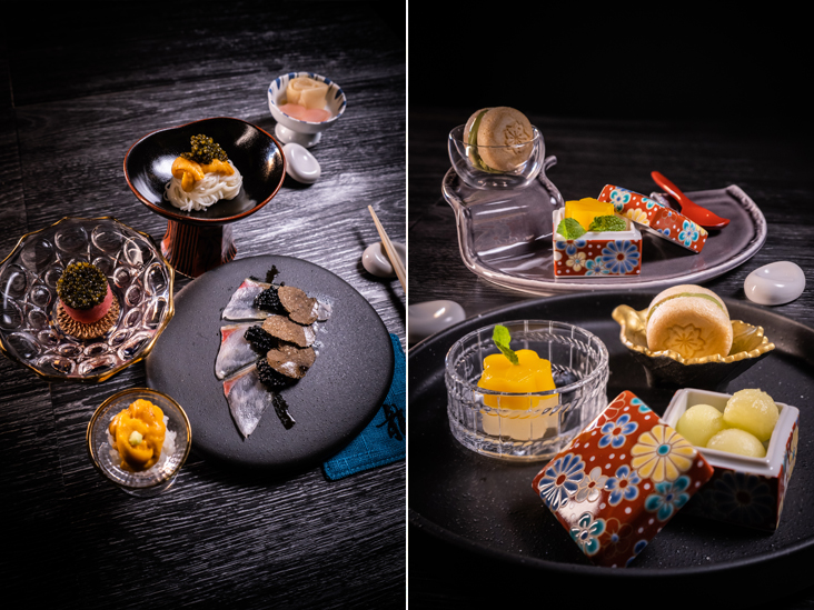Menu items from Sushi Ryu include premium ingredients like caviar and uni (left). Seasonal desserts are available at Sushi Ryu (right)