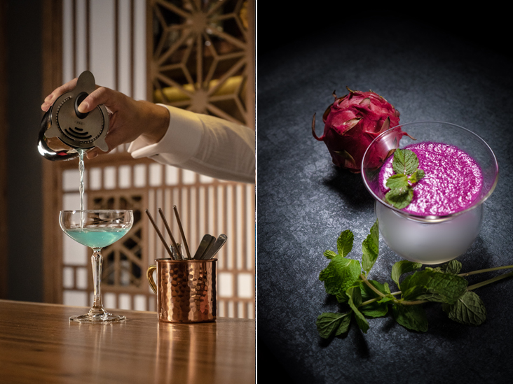 At Bar Shake, you can enjoy bespoke cocktails crafted by bar owner, Osamu Kinugawa or Sam (left). Fruits like the pink dragonfruit is used to make sake cocktails at Bar Shake (right)