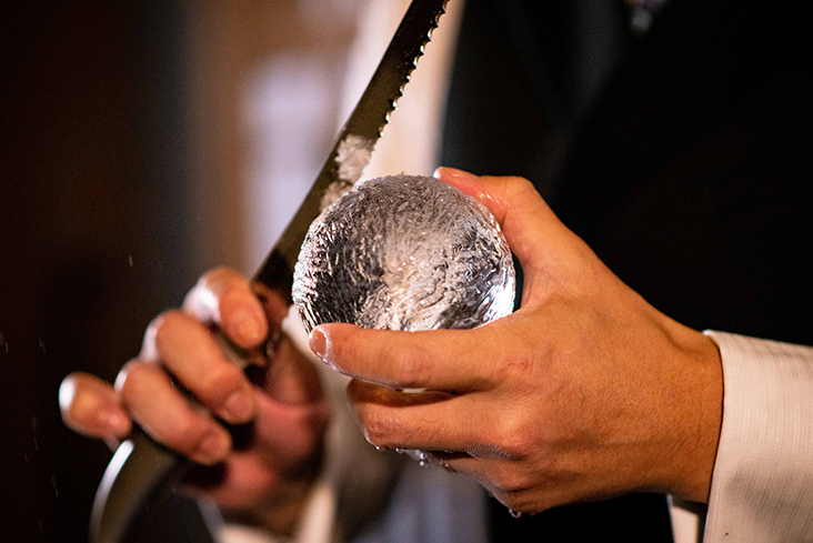 One of the Osamu Kinugawa's special skills including carving the perfect, spherical ice cube at Bar Shake