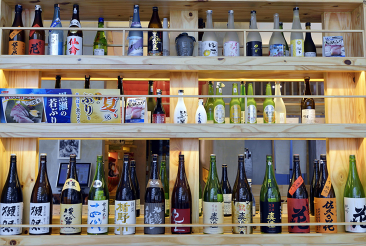 A selection of Japanese sake is available at Tsukiji No. 8