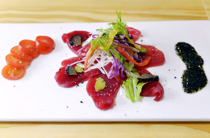 A tuna carpaccio, a medley of Japanese and Italian flavours