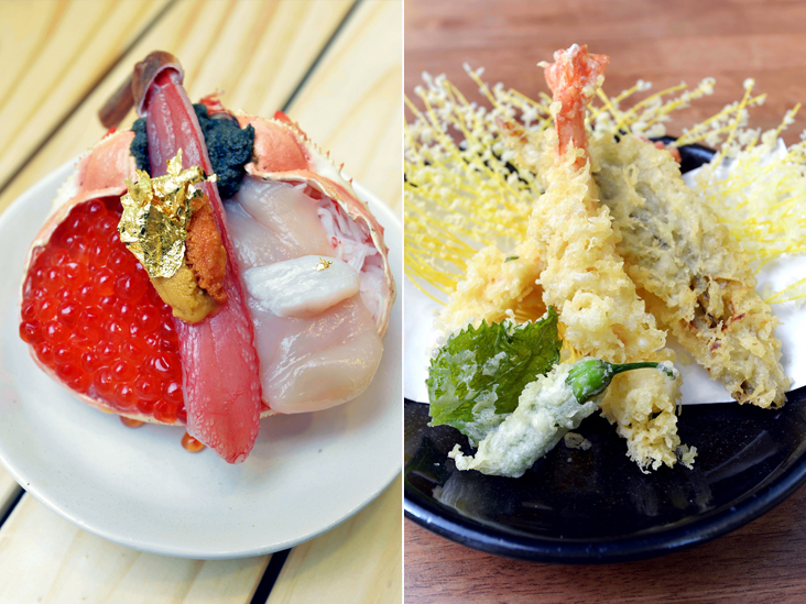 Ocean's 8 is filled with eight different types of ingredients from the sea (left). You can also order tempura from the menu at Tsukiji No. 8 (right)