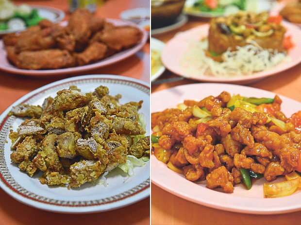 Do you dare to try deep fried fish roe for a change? (left). A childhood favourite of mine; sweet and sour pork is one of the highlights in every cze char meal even in Singapore (right)