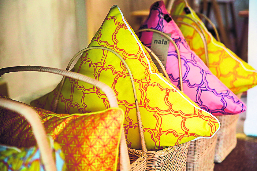 Pretty in Peranakan pillow covers by Nala Designs are specially handprinted by Lisette Scheers