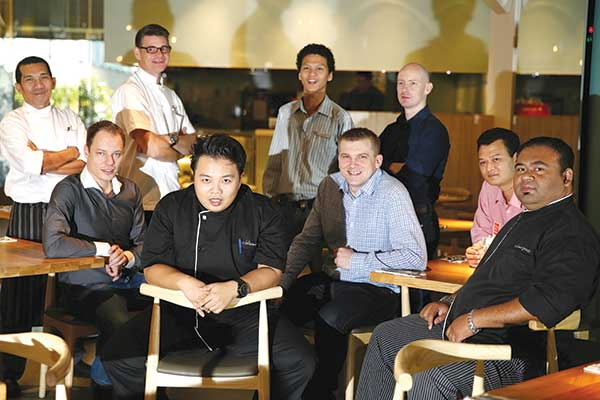 Team Delicious rises up to the challenge (standing from left to right): Executive Chef Amin bin Md. Ariffin, Executive Chef Sandy Alan Rowe, Assistant Training Manager Azwan Affendy, Front of House Training Manager Sam Harper. (seated from left to right): Chief Operating Officer Andreas Konig, Development and Training Chef Hafiz Bin Abu Nangim, Chief Executive Officer Steve Allen, Senior Front of House Operations Manager Wan Mohd Fuaad Sani, Executive Chef Mohamed Fazli Bin Abu Bakar. – Pictures by Choo Choy May