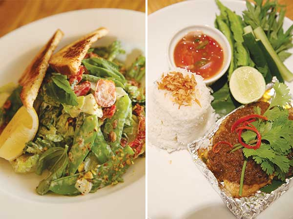 Healthy does not mean bland and the Long Beans, Snow Peas & Sundried Tomato Salad with four angled beans fits the bill perfectly for a delicious carb-free meal (left). Enjoy the aromatic Nyonya Baked Fish with steamed rice and healthy ulam dipped with the spicy sour dressing (right)