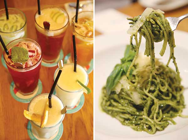 Refresh with these thirst quenchers (left). An all-time favourite is the Homemade Pesto Spaghetti (right)