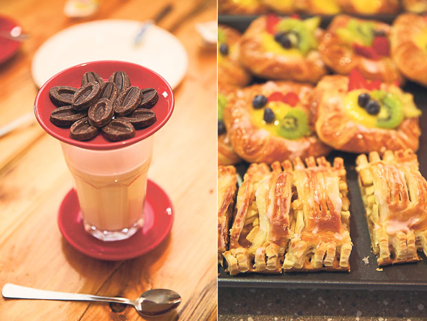 Try their delicious hot chocolate drink, which is made by mixing Valrhona chocolate discs with hot milk (left). Grab a slice of their highly sought after apple strudel that sells out by 10.30am during the weekends (right)