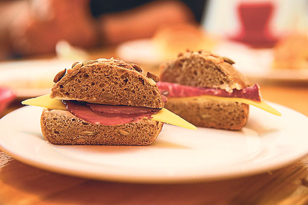 Try their rye buns with pumpkin seeds with cheese and halal Italian beef salami or air dried beef