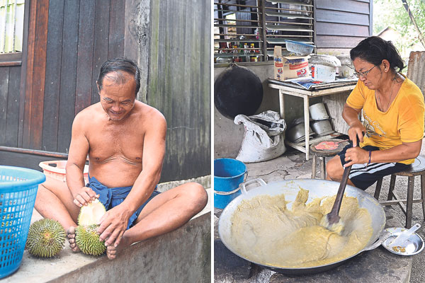 At the Lim Brothers Farm, you only need to say what type of durians you want, they will choose for you, open it up and serve it to you (left). The unsold durians don't go to waste as the flesh is used to make the sticky sweet durian kuih, cooked over a simmering charcoal fire at the Lim Brothers Farm (right)