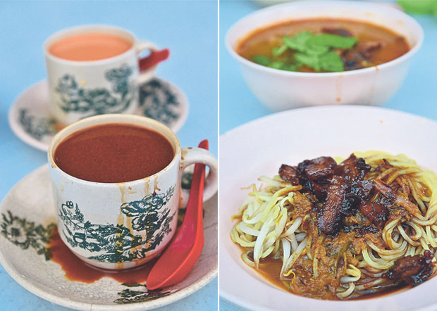 Nothing beats a freshly-brewed cup of Ipoh white coffee or silky smooth milk tea to start the day with (left). Try the dry curry noodles with char siew, but do ask for additional dry curry paste if you prefer a more robust taste (right)