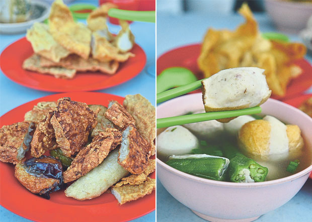 Crunchy, delightful stuffed fish paste including the Ipoh famous sar kok liew (yam bean fritters) can be ordered together with the curry noodles (left). The stuffed bean curd, green chillies and fish balls are served in a savoury, clear broth lightly seasoned with ground white pepper (right)