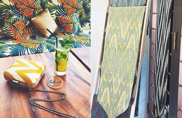 The J Ikat clutch features a leather flap for a touch of luxe (left). Table runners to brighten up your dining area (right)