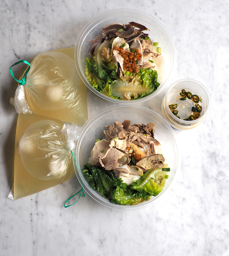 Just heat up the broth and combine with the blanched noodles and toppings to enjoy the meal.