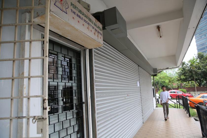 Undated file photo shows the Bible Society of Malaysia shop closed for a stock check. Selangor Mentri Besar Tan Sri Khalid Ibrahim said January 8, 2014 that the state government will order the return of the 300 copies of the bible seized by JAIS. — Picture by Choo Choy May