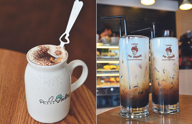 Petit Mary Patisserie's specially designed mug and their flavoured coffee drinks make for a relaxing good time on a weekend afternoon (left). Come to Doi Chaang Coffee and try their famous Iced Doi Chaang; an easy-on-the-palate brew with a silky smooth, refreshing and milky finish (right)