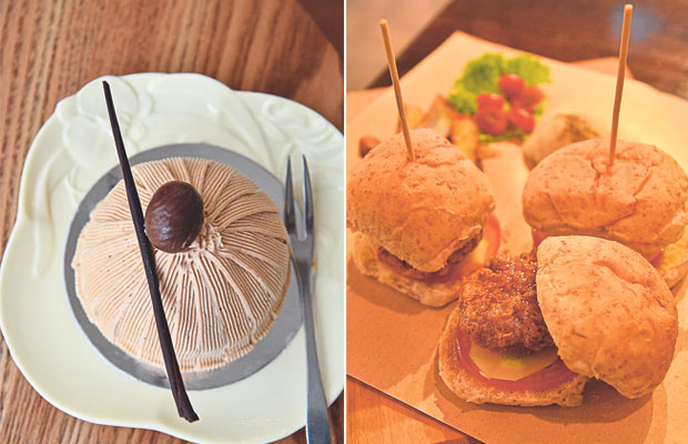 The Mont Blanc tart from Petit Mary Patisserie is one of their trademark creations (left). Three Little Pigs sliders at Café de Eight; homemade pork patties deep fried and sandwiched between wholemeal buns (right)