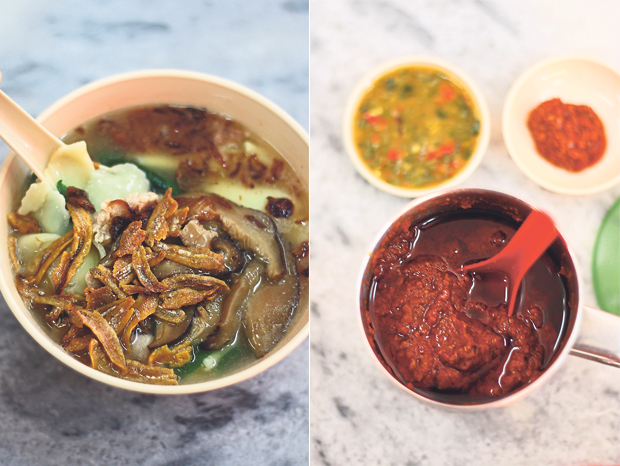 With its generous portion of fried ikan bilis and shallots, the pan mee at Ttua Mark Pan Mee House is exceptionally delicious (left). You will be spoiled for choice with the sauces and sambal here (right)