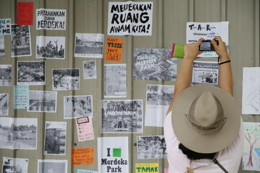 Posters and pictures capturing the public's nostalgia for the now-demolished Merdeka Park (Tunku Park).  – Picture by Choo Choy May