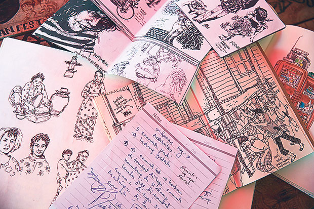 Sketching and relying on his mother's notes help Kide Baharudin get a good idea of what to do next