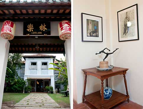 23 Love Lane is like going home to grandma's house (left). Paintings, sculptures and antique pieces, all locally acquired, are strategically placed all over the hotel grounds to add colour to it (right)