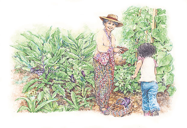 """Making acar"" – illustration by Chooi Ling Keiong"