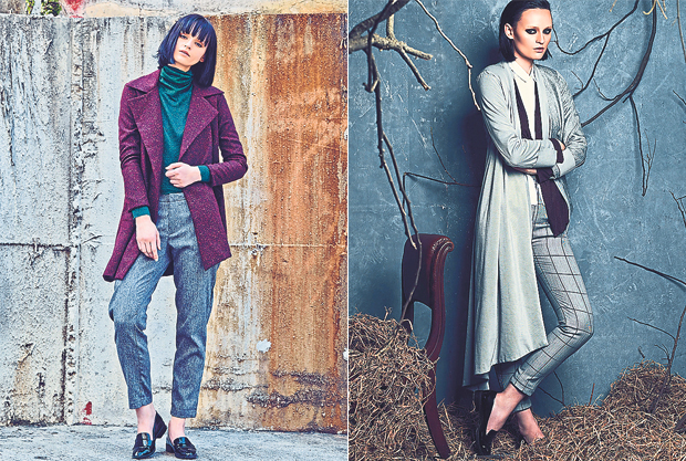 Add a pop of colour to your winter wear with this purple coat and emerald green top (left). Elegant and sophisticated are words used to described this outfit (right)