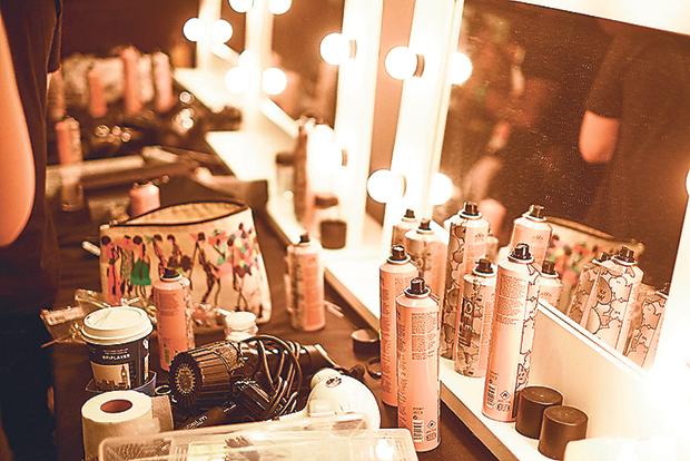 Getting ready backstage for London Fashion Week 2015