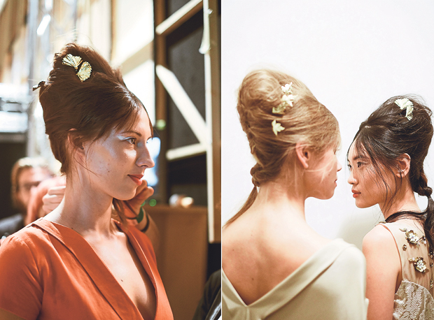 A model wearing Mimpikita for the fashion show (left). The Mimpikita hairstyles for London Fashion Week (right)