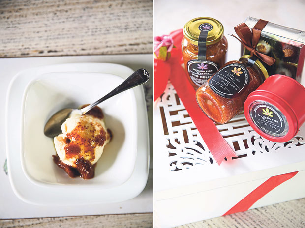 It's hard to stop at just one portion of the caramelised figs with ice-cream, as visitors to Mutiara Figs Garden always ask for seconds (left). Fig leaf tea is good for controlling blood sugar levels and suppressing your appetite (right)