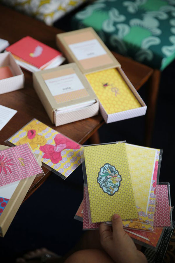 Malaysian motifs such as auspicious feng shui bats and the breadfruit leaf (daun sukun) feature greatly in nala stationery. – Picture by Choo Choy May