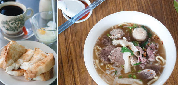 Perfect for a mid-morning break - toast, half-boiled eggs and coffee at Toh Soon (left). Beef noodles at Sri Weld (right).