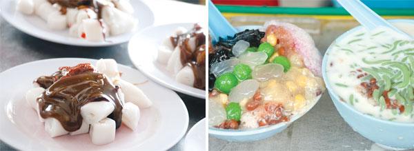 Chee cheong fun at Genting Coffee Shop (left). Ais kacang and cendol at Joo Hooi Café (right).