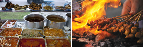 The nasi Melayu stall at Terengganu Road has a wide array of dishes to choose from (left). Strips of chicken, pork, venison, beef, mutton or wild boar seasoned in a variety of sauces grilled over a charcoal fire at Terengganu Road (right).