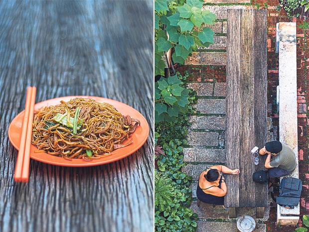 A plate of vegetarian char beehoon from the ramshackle kopitiam opposite Ren I Tang (left). Guests enjoying Ren I Tang's open-air courtyard (right)